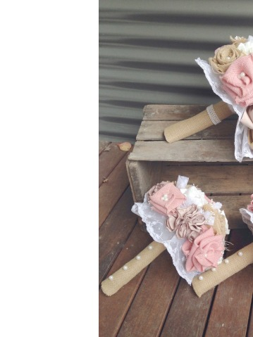 Custom made Hessian, silk and lace Bouquets / Brides Marketplace