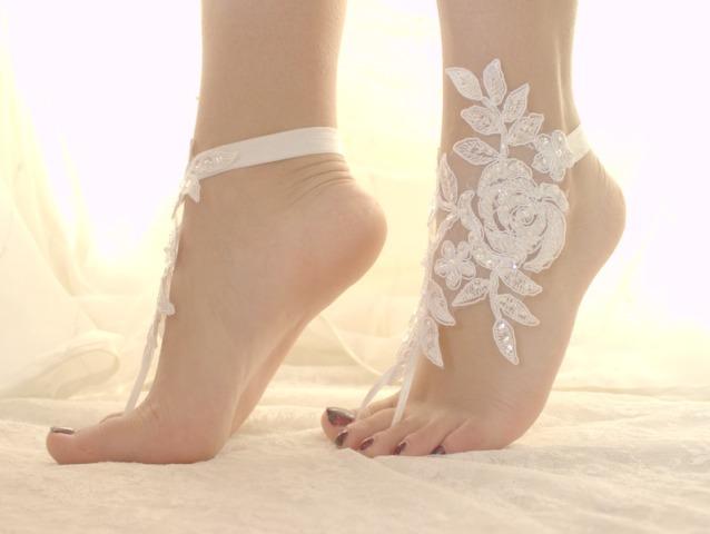 c058208de white lace bridal barefoot sandals